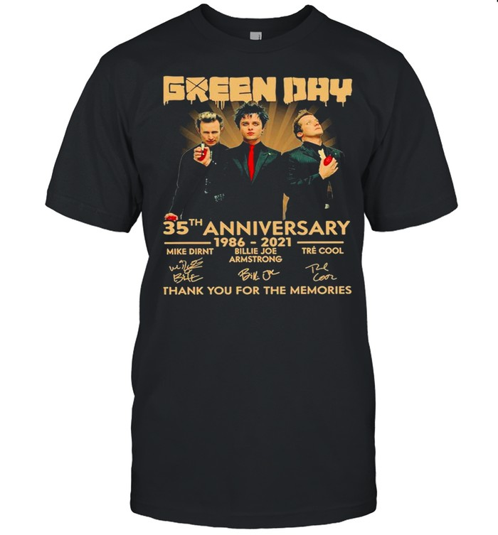 Green Day 35th anniversary 1986 2021 thank you for the memories signatures shirt