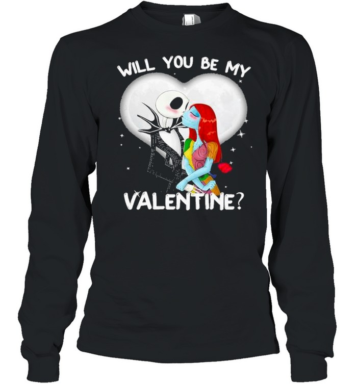 Jack Skellington and Sally will you be my Valentine 2021 shirt Long Sleeved T-shirt