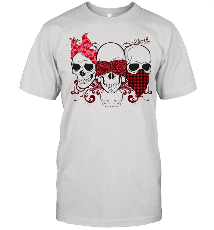 Three Skulls Happy Valentine 2021 Plaid shirt Classic Men's T-shirt