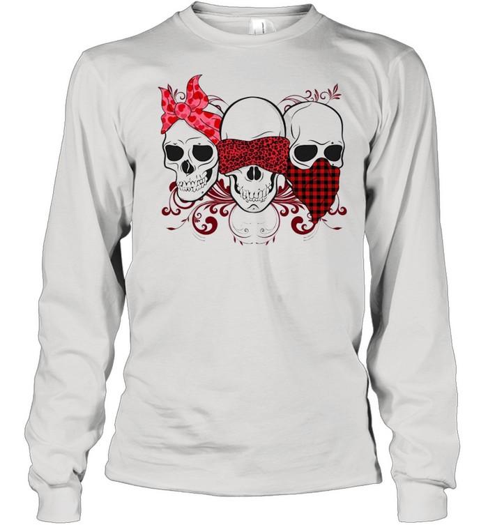Three Skulls Happy Valentine 2021 Plaid shirt Long Sleeved T-shirt