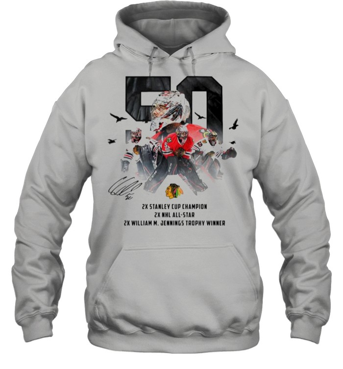 50 Corey Crawford Chicago Blackhawks 2x Stanley Cup Champion 2x NHL all-star 2x William M Jennings trophy winner shirt Unisex Hoodie