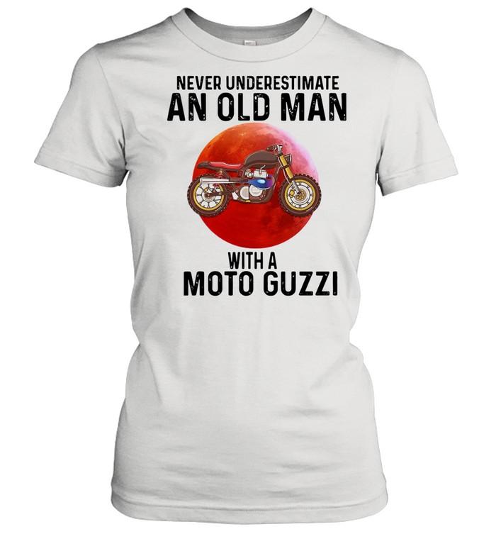 Never Underestimate An Old Man With A Moto Guzzi shirt Classic Women's T-shirt