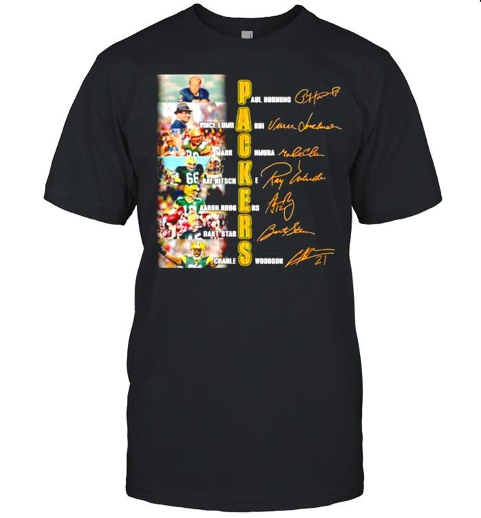 Packers Paul Hornung Vince Lombardi Mark Chmura signatures shirt