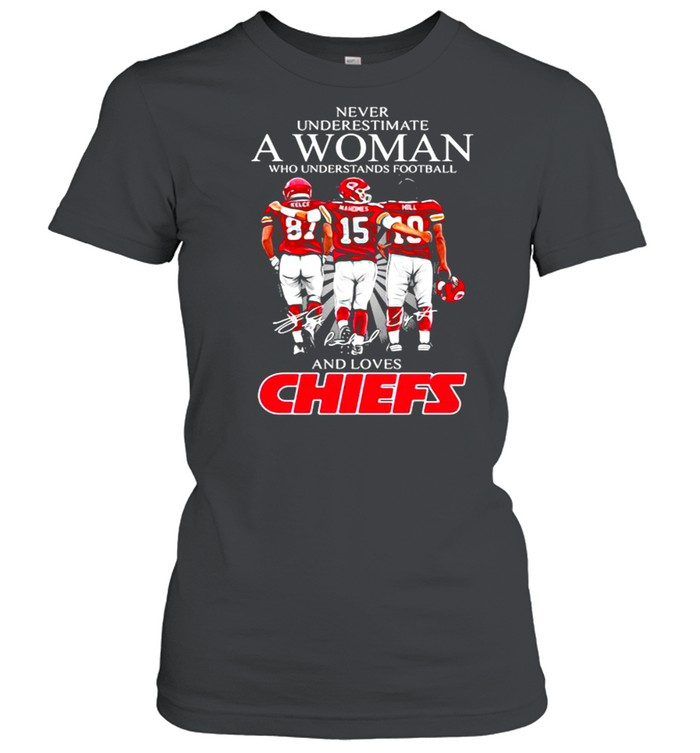 Never Underestimate A Woman Who Understand Football And Loves Chiefs shirt Classic Women's T-shirt