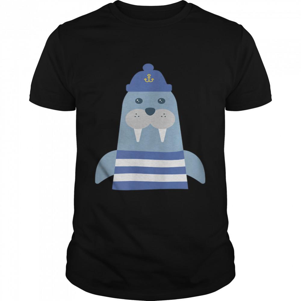 Walruss Seaman Maritime Captain Sailors Skipper with Boats shirt