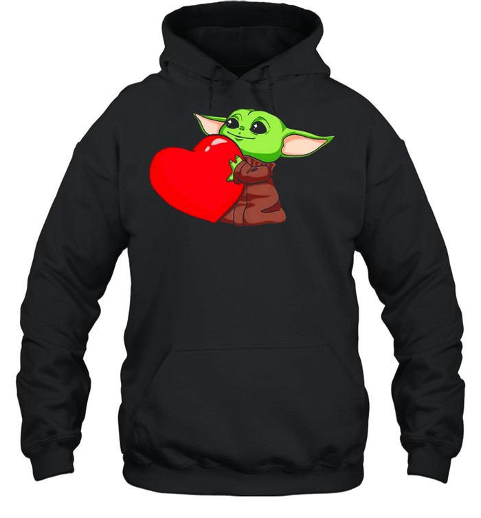 Baby Yoda Cute Hug Heart Happy Valentine 2021 shirt Unisex Hoodie
