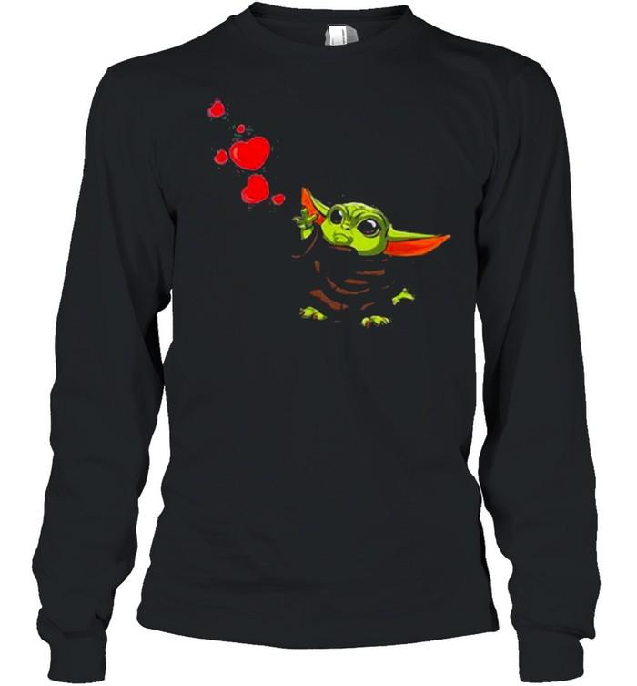 Baby Yoda Hearts Happy Valentine Day shirt Long Sleeved T-shirt