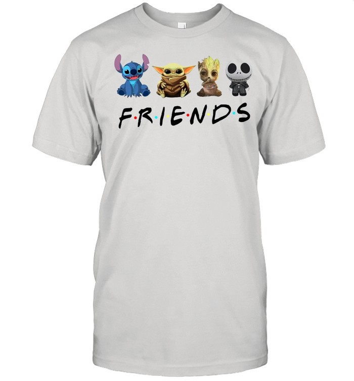 Baby Yoda Stitch Groot And Jack Skeleton With Friend 2021 shirt Classic Men's T-shirt