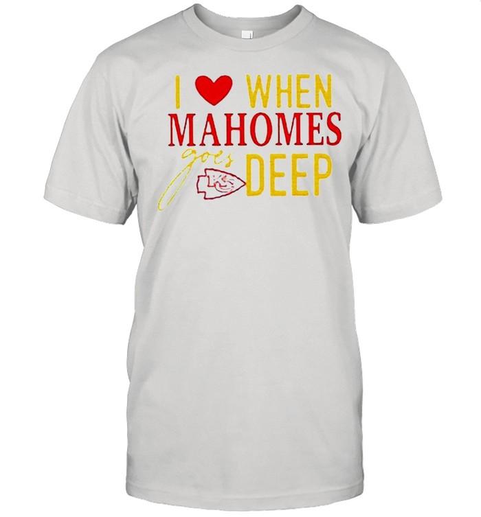 I love when mahomes goes deep Kansas City Chiefs NFL shirt Classic Men's T-shirt