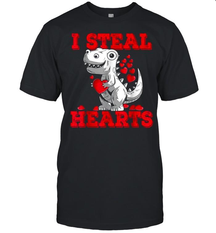 Boys Valentines Day Kids Dinosaur T Rex Lover I Steal Hearts shirt