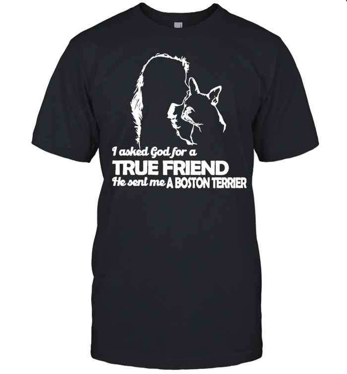 I asked God for a True Friend he sent me a Boston Terrier and Girl shirt