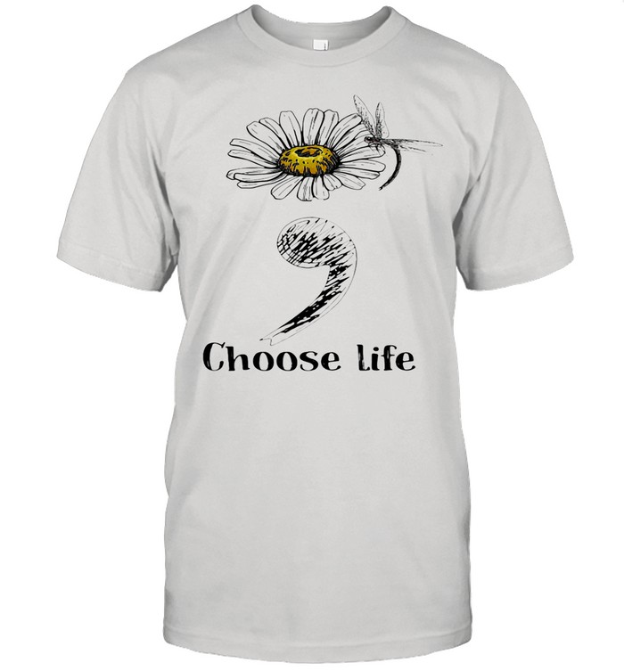 Choose Life Chrysanthemum Flowers Dragonfly shirt Classic Men's T-shirt