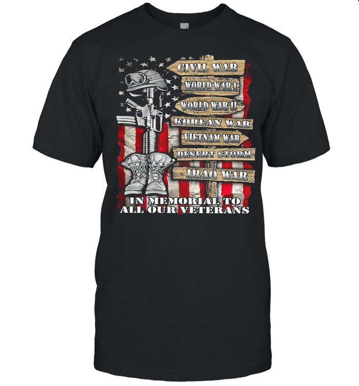 Civill War In Memorial To All Our Veterans American Flag shirt