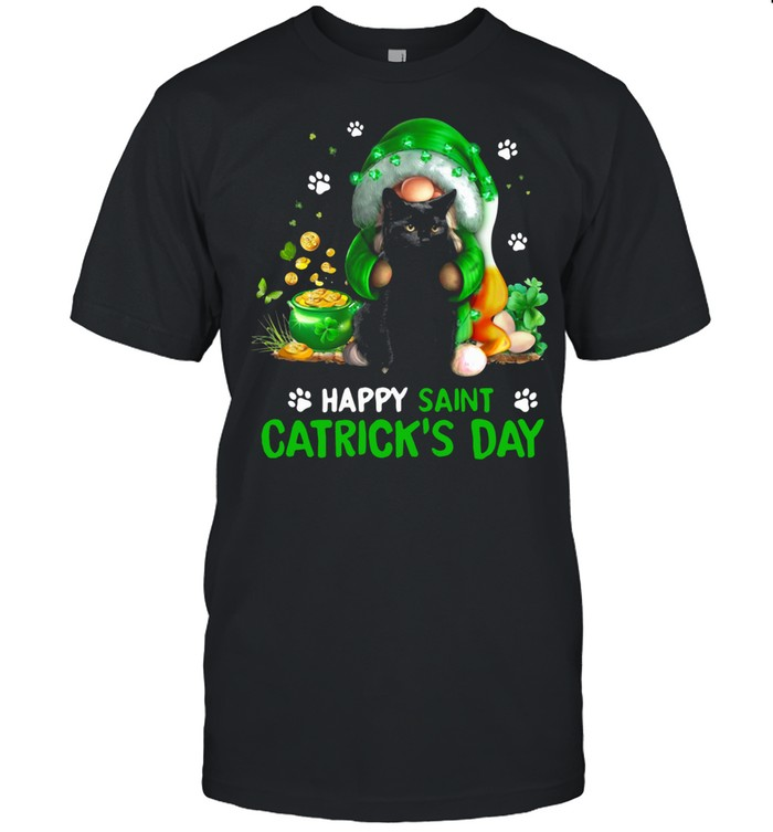 Happy Saint Catrick's Day Black Cat Irish Gnome shirt