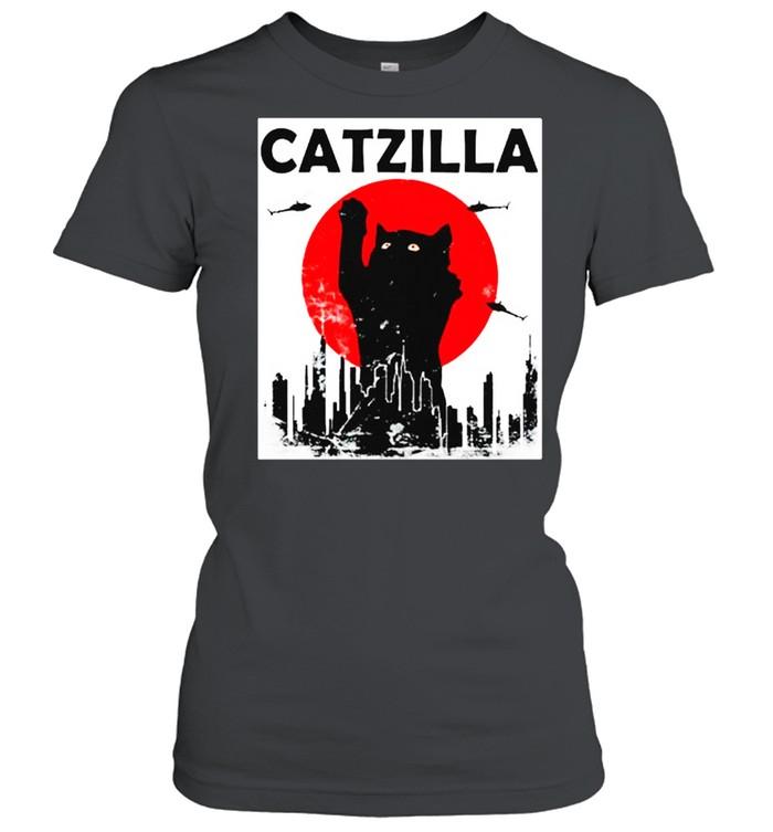 Black Cat Catzilla Sunset shirt Classic Women's T-shirt