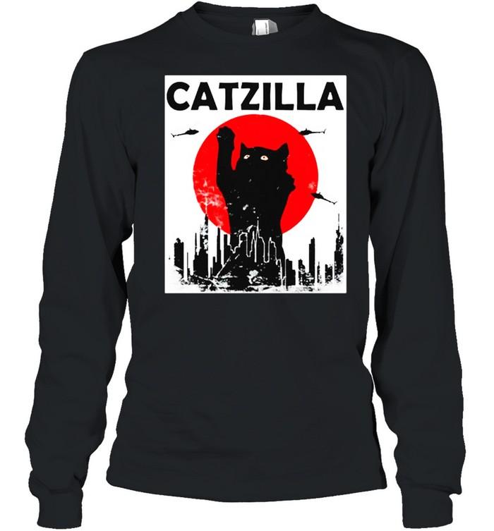 Black Cat Catzilla Sunset shirt Long Sleeved T-shirt