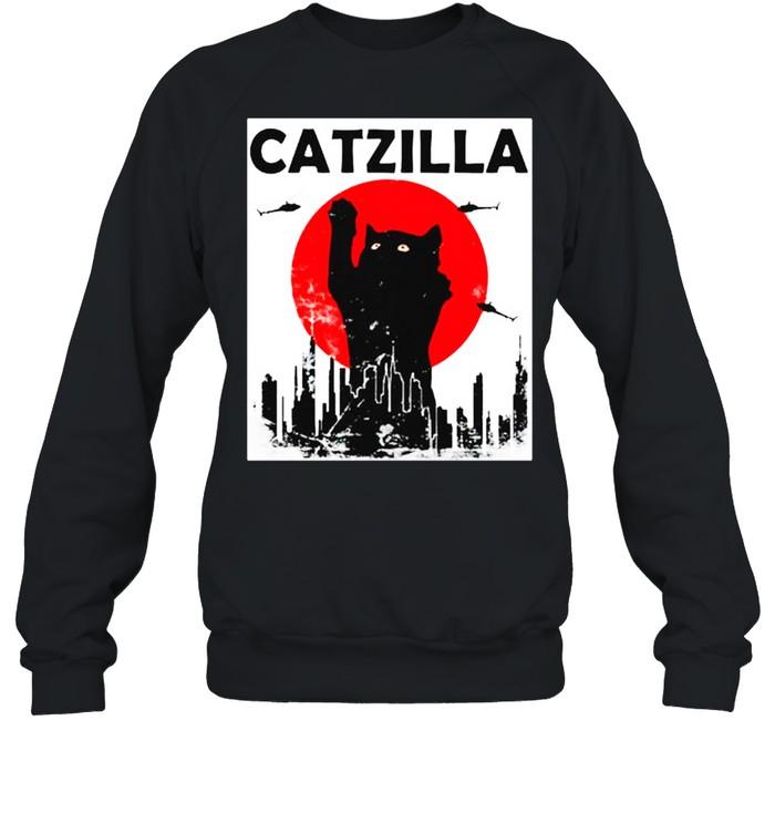 Black Cat Catzilla Sunset shirt Unisex Sweatshirt