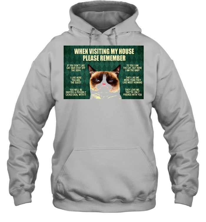 cat when visiting my house please remember shirt Unisex Hoodie