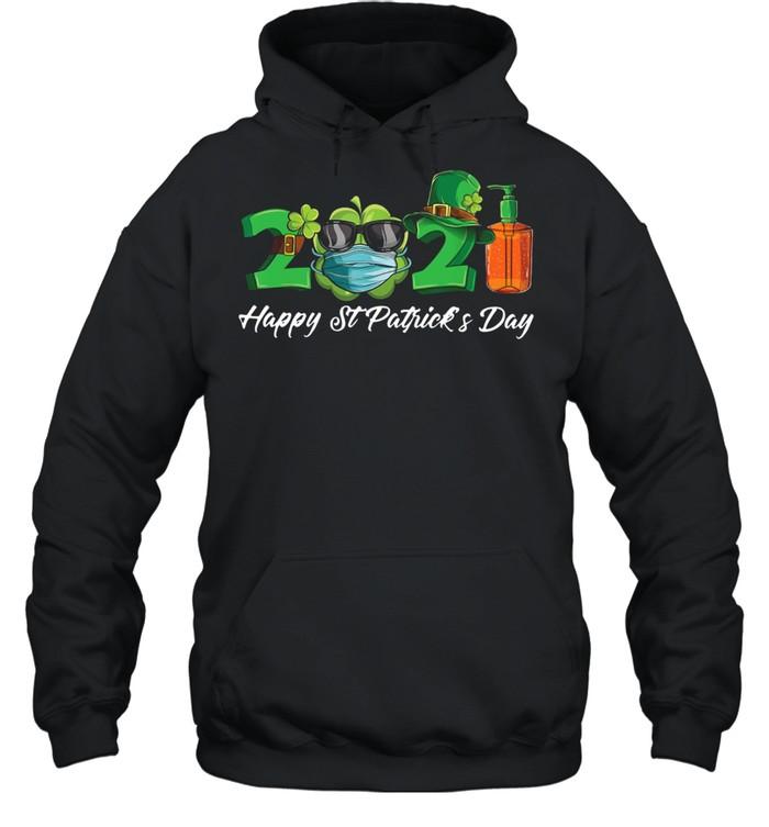2021 Shamrock Face Mask Happy St Patrick's Day shirt Unisex Hoodie