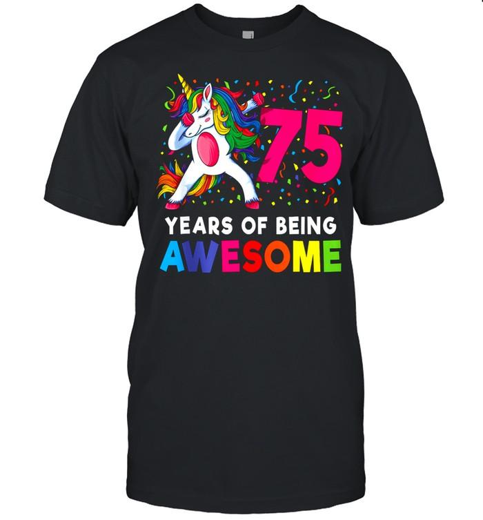 75th Birthday Dabbing Unicorn Party 75 Years Old shirt