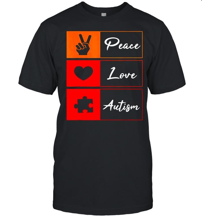 Peace Love Autism Peace Love Autism Awareness Day Us 2021 shirt