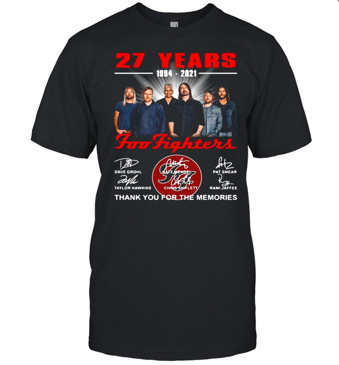 Foo Fighters 27 Years 1994 2021 Signatures Thank You For The Memories T-shirt