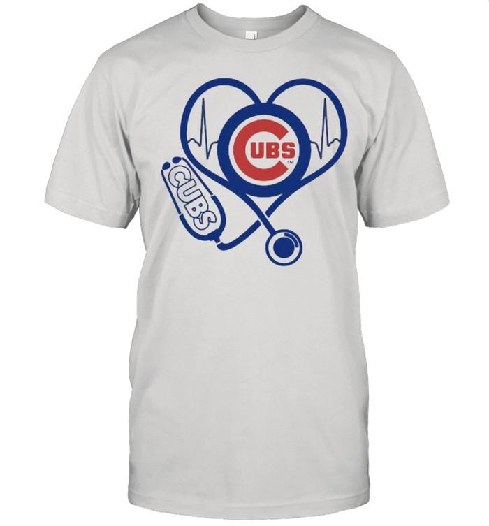 Lover Chicago Cubs Football Heart Beat Logo Cubs Shirt