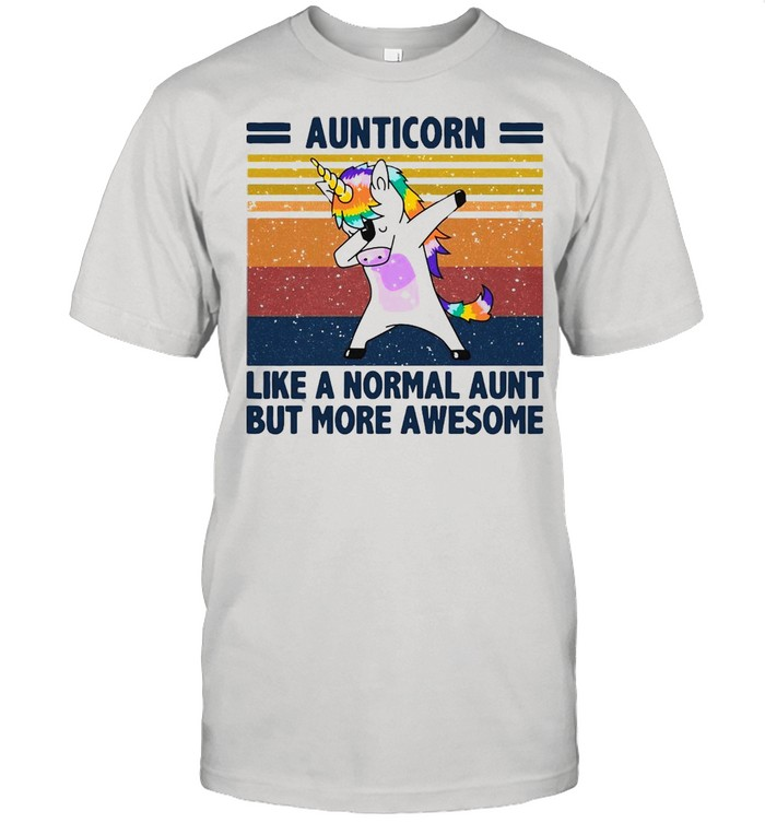 Unicorn Aunticorn Like A Normal Aunt But More Awesome Vintage Retro T-shirt