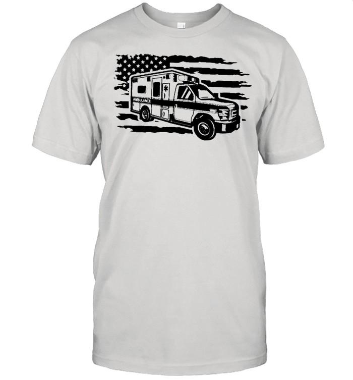 Distressed American Flag EMS Ambulance Car shirt