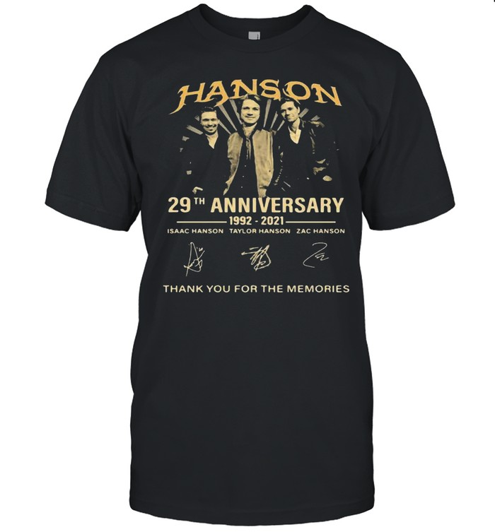 Hanson 29th Anniversary 1992 2021 Thank You For The Memories Signatures Shirt