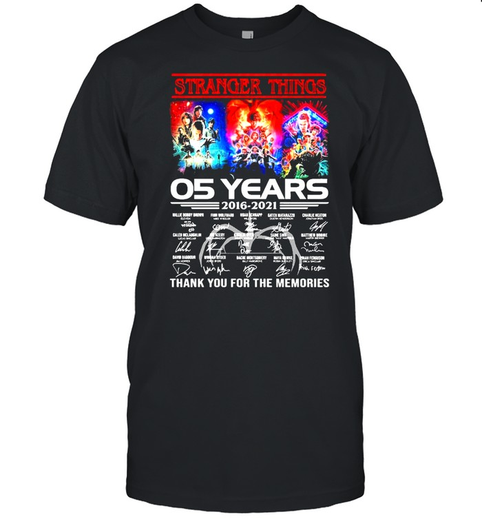 Stranger Things 05 Years 2016 2021 Signatures Thank You For The Memories Shirt