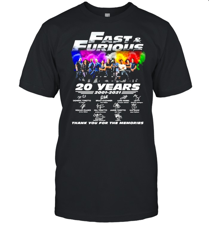 Fast And Furious 20 Years 2001 2021 Thank You For The Memories Signature  Classic Men's T-shirt