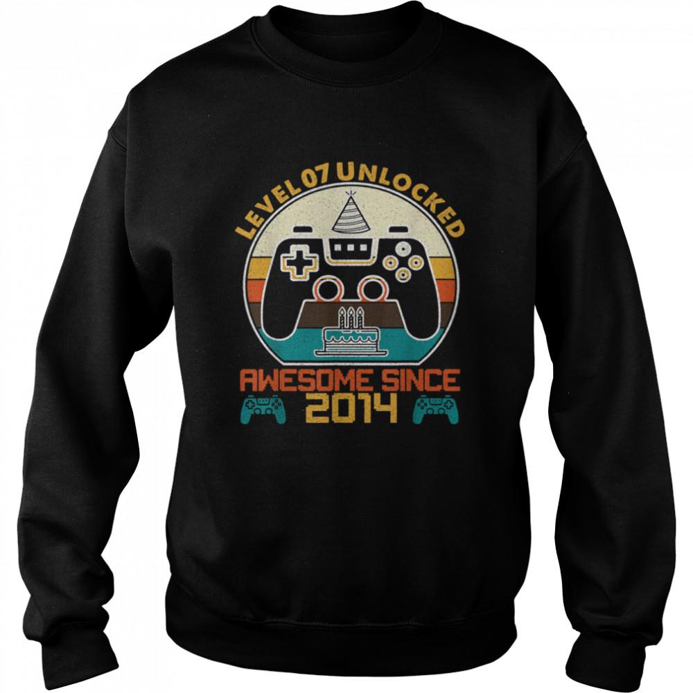Level 7 Unlocked Video Gamer 7 Years Old 7 Birthday shirt Unisex Sweatshirt