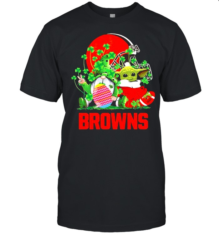 Browns Football Baby Yoda Vs Gnome Happy Easters And St Patricks Day Shirt