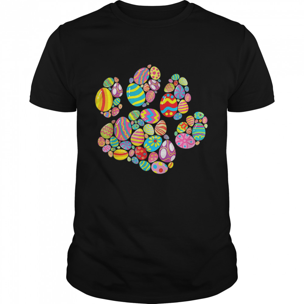 Colorful Egg Easter Paw Dog Cats Easter Day shirt