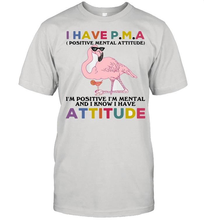 Flamingos I Have P.m.a I'm Positive I'm Mental And I Know I Hate Attitude Shirt