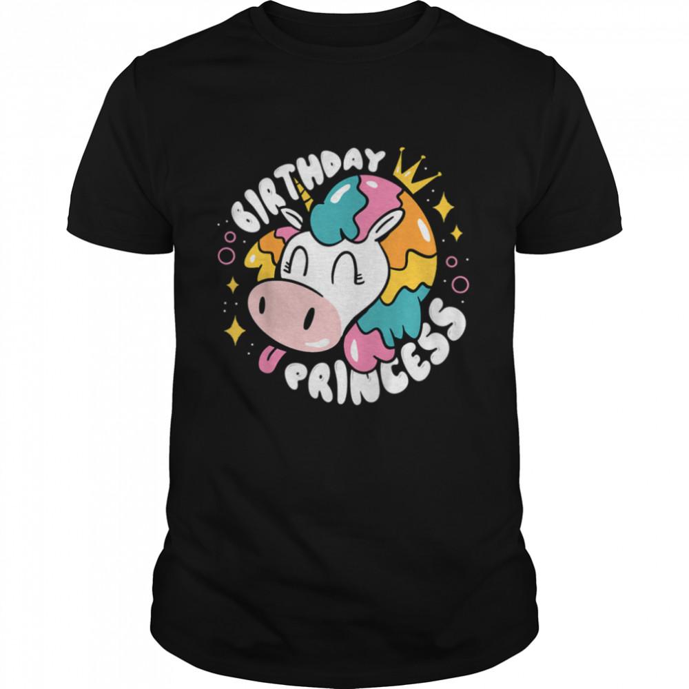 Kids Birthday Princess UnicornCow Girls Birthday shirt