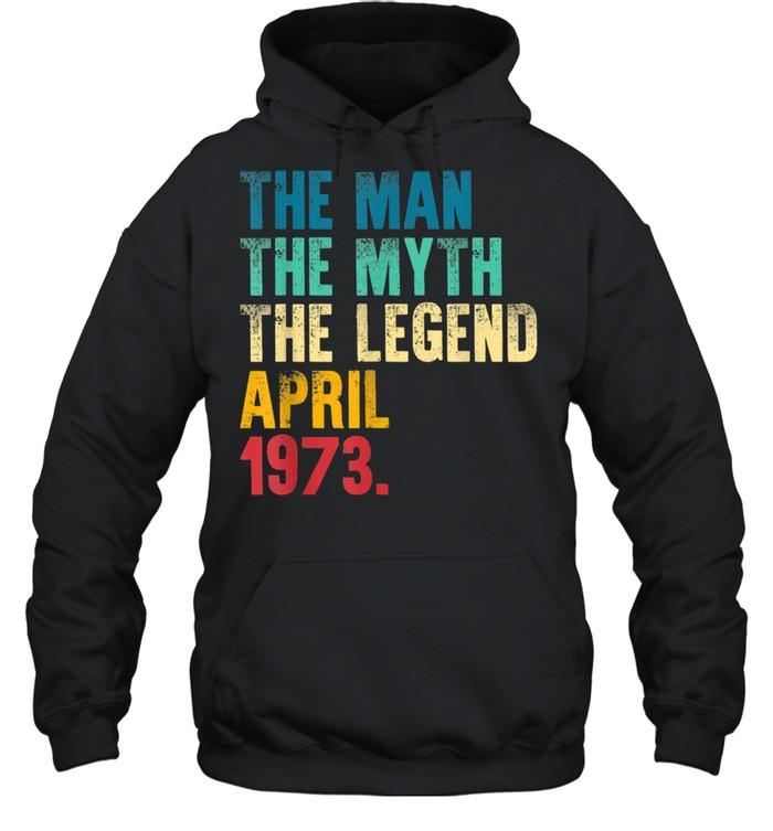 Mens Vintage 1973 Man Myth Legend 48th Bday Retro 48 Yrs Old shirt Unisex Hoodie