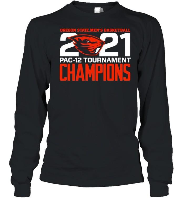 Oregon State Beavers Blue 84 2021 PAC-12 Tournament Champions shirt Long Sleeved T-shirt