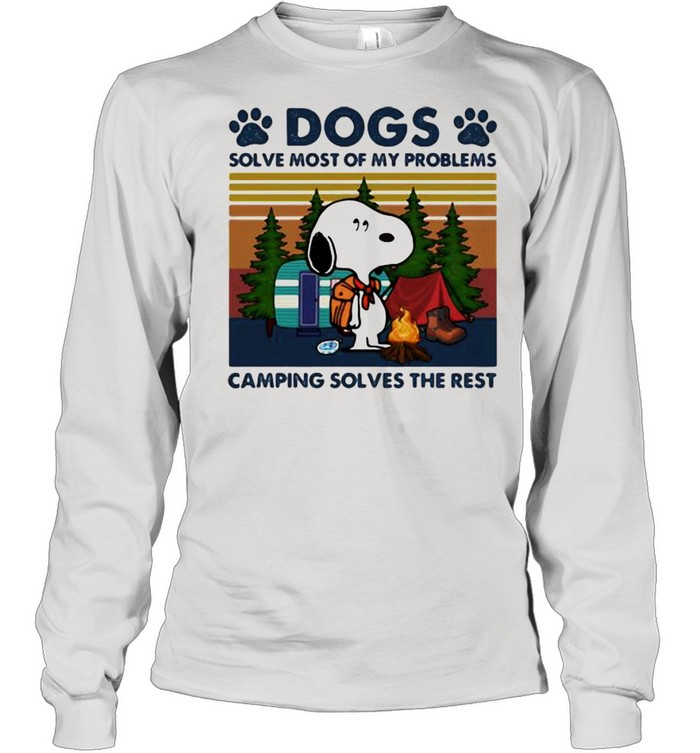 Dogs Solve Most Of My Problems Camping Solves The Rest Snoopy Vintage  Long Sleeved T-shirt