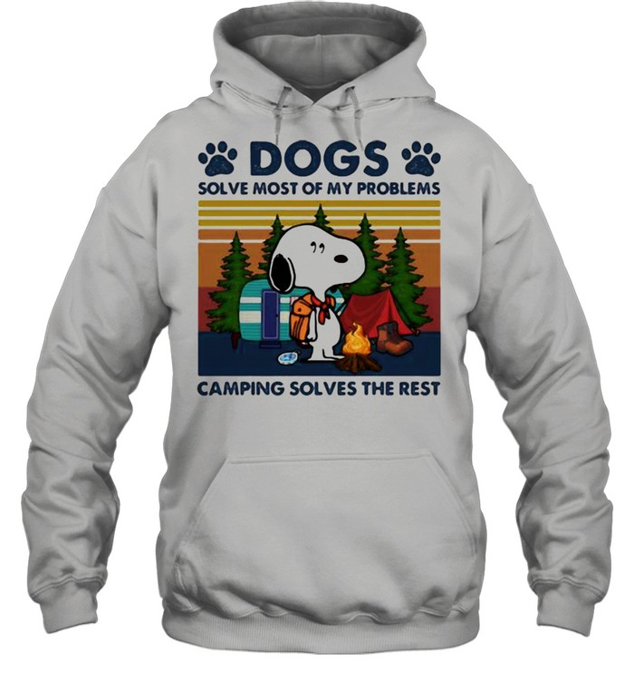 Dogs Solve Most Of My Problems Camping Solves The Rest Snoopy Vintage  Unisex Hoodie