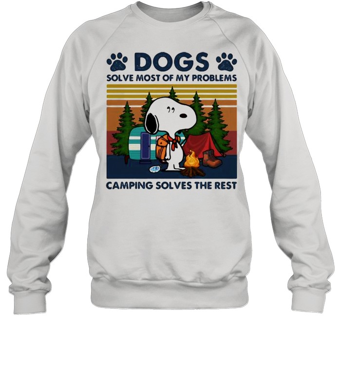 Dogs Solve Most Of My Problems Camping Solves The Rest Snoopy Vintage  Unisex Sweatshirt