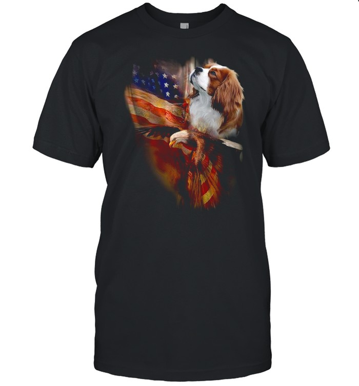 Eagle Cavalier King Charles Spaniel American Wings Happy 4th Of July Shirt