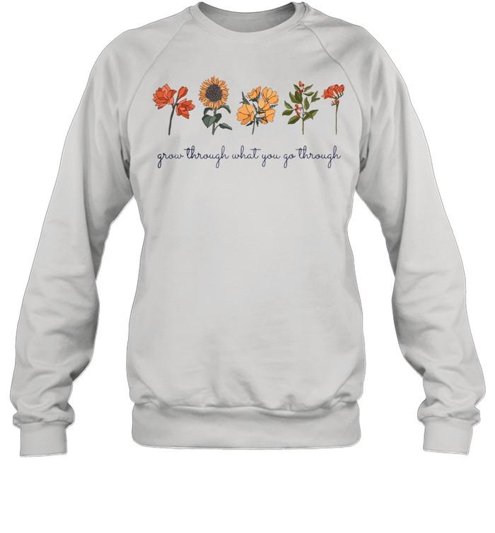 Grow Through What You Go Thru Vintage Wildflower Sunflower  Unisex Sweatshirt