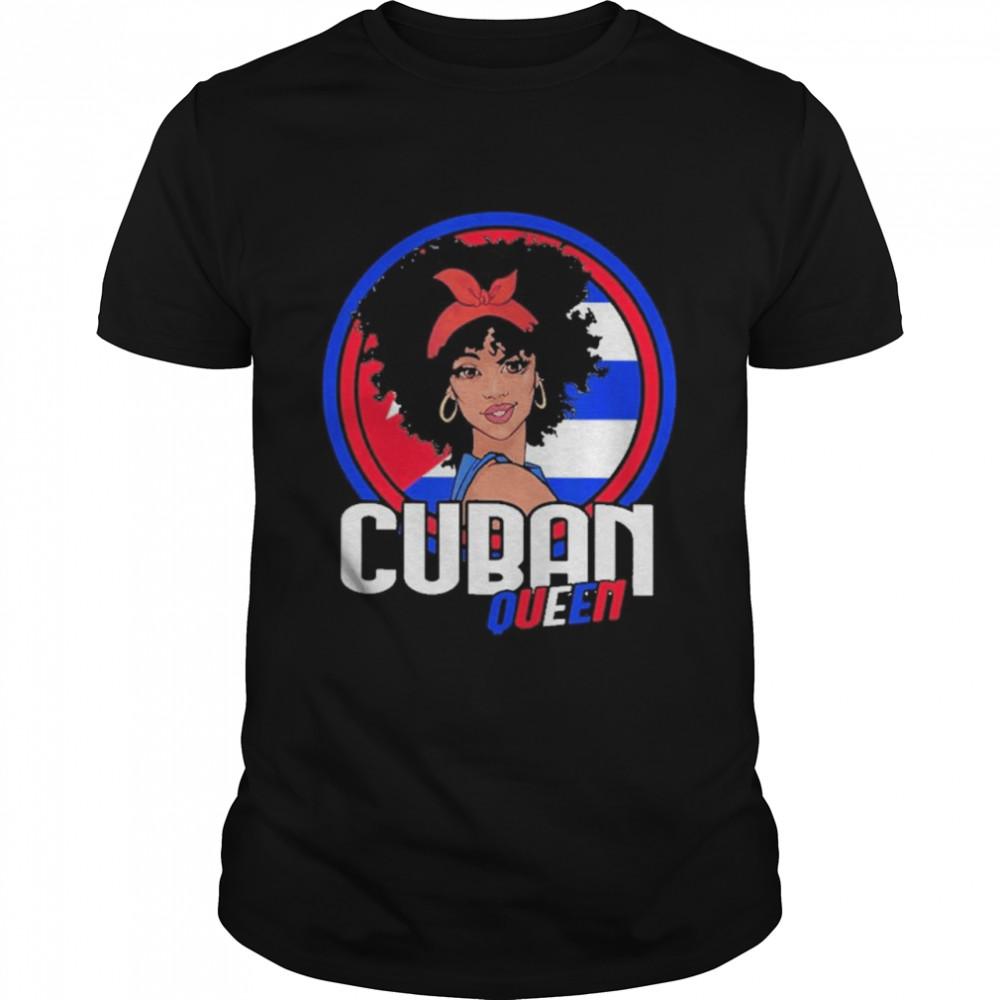 Black Women Cuban Queen With Patria Y Vida Cuba Libre shirt