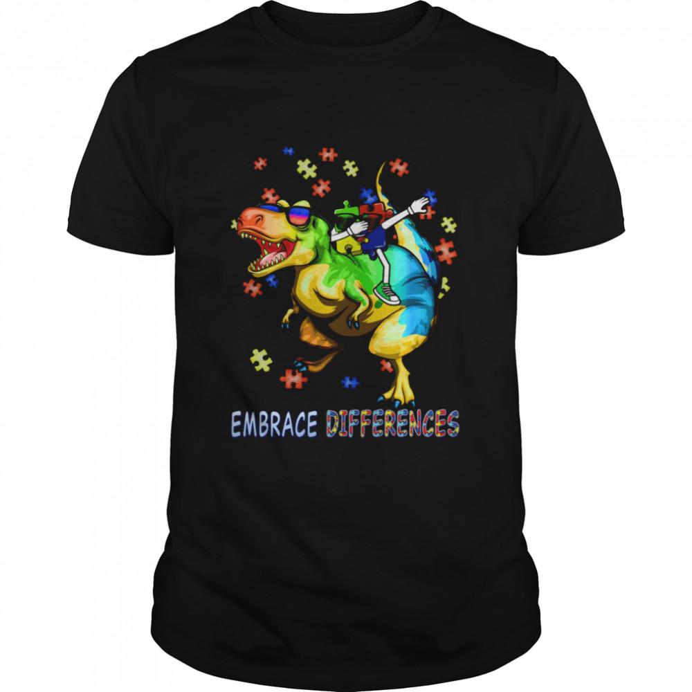 Autism Awareness Embrace Differences Dinosaur Dabbing Puzzle Shirt