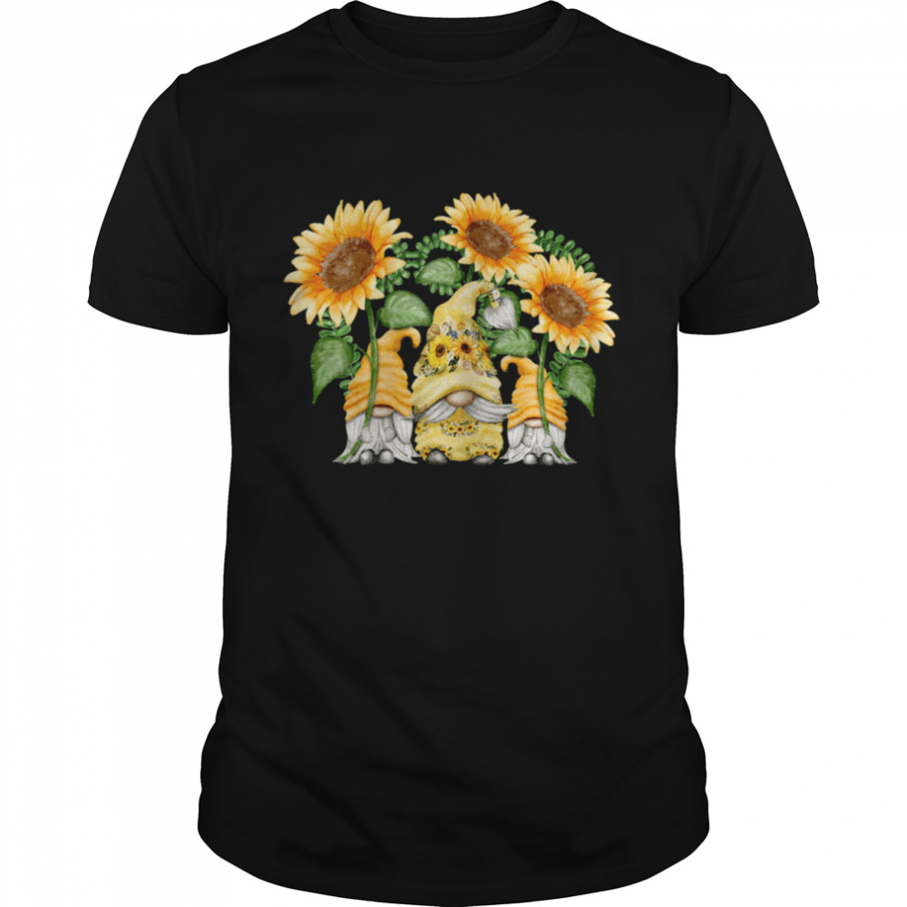 Floral Sunflower Gnome For Hippies & Spring Gardener Gnomie Shirt