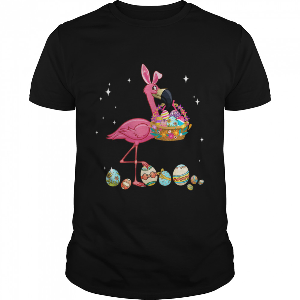 Pretty Easter Flamingo With Easter Basket  Classic Men's T-shirt
