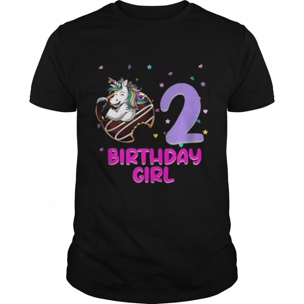 Unicorn Donut 2nd Birthday Girl Love 2 Years Old Shirt