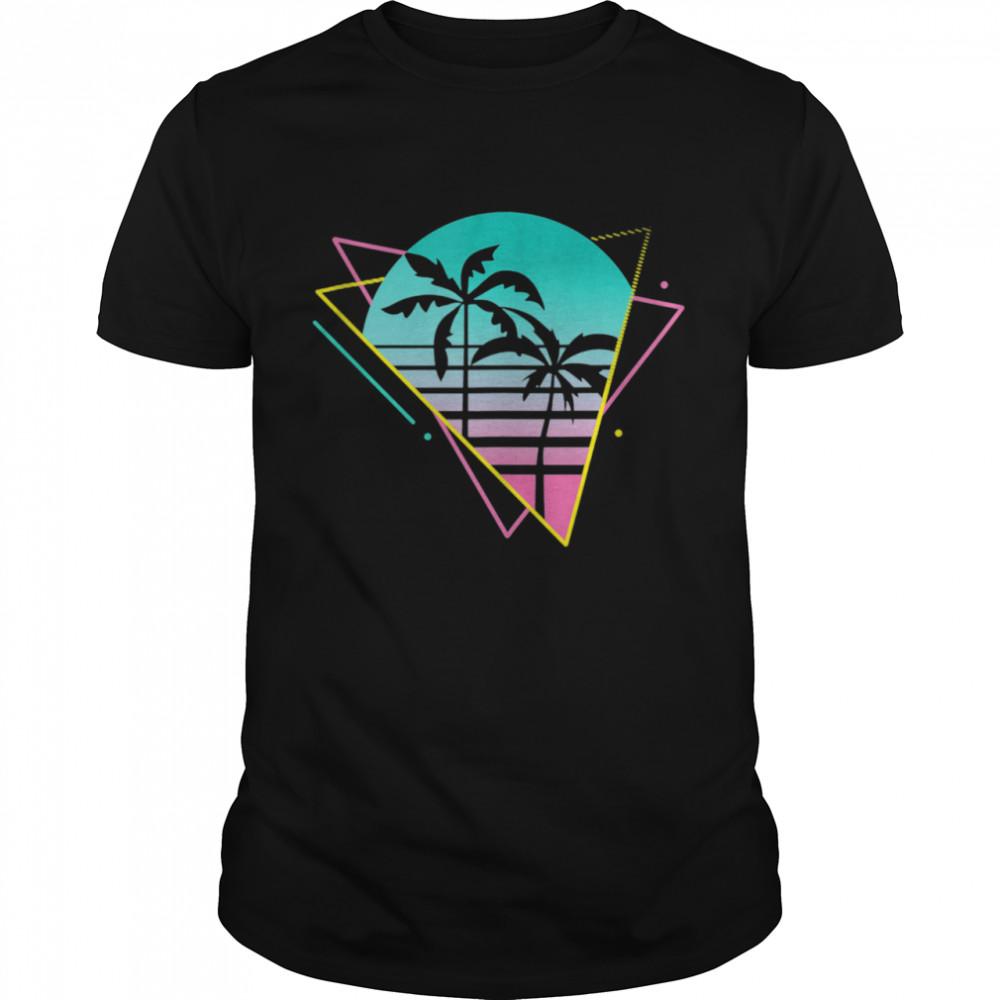 Vaporwave 80s 90s Retro Retrowave Palm Trees  Classic Men's T-shirt